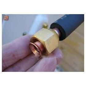 1 metro tubería cobre doble aislado 1/4-3/8 abocardado y con tuercas de conexion
