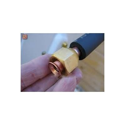 8 metros tubería cobre doble aislado 1/4-3/8 abocardado y con tuercas de conexión
