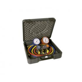 """Analizador de 2 válvulas y 5 conexiones APM-20 con 3 mangueras de 1/4"""" x 900 mm y estuche para R-22, R407C y R-410A"""