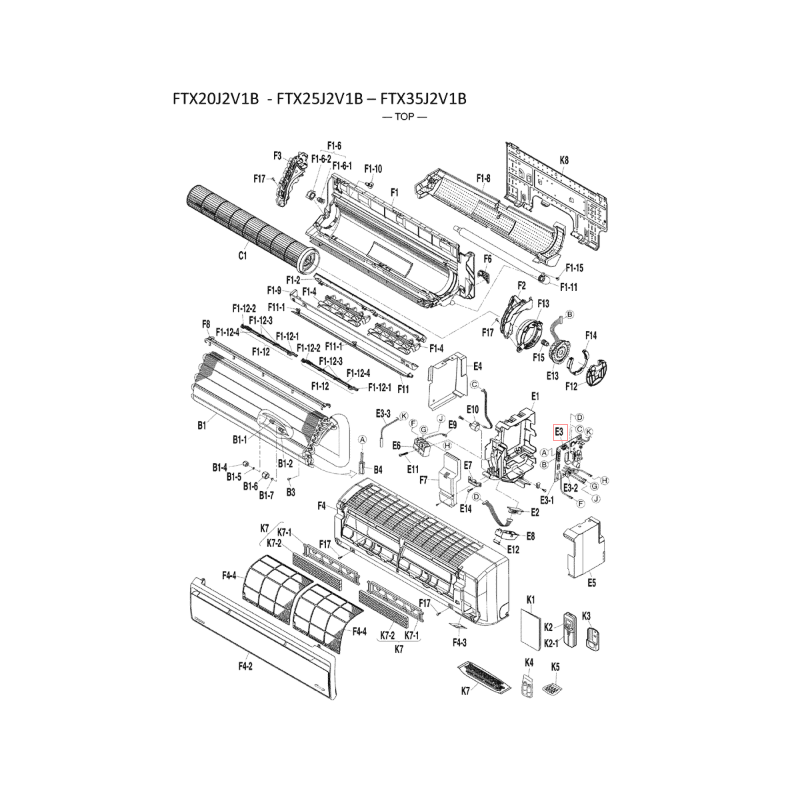 Placa de control split interior DAIKIN modelo FTXB35C2V1B 5014999