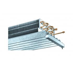 """Evaporador estático para cámara de 49 m2 construido en tubo 5/8"""" y aleta de aluminio con una separación de 14 mm"""