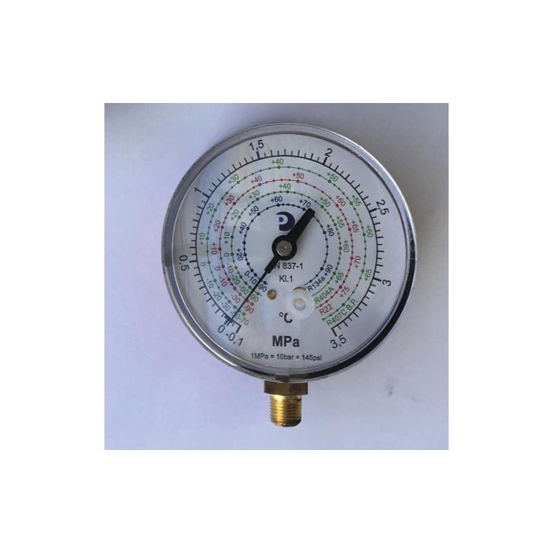 Manómetro de alta presión de Ø 80 mm amortiguado sin glicerina 127-P/4 rojo
