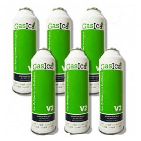 PACK 6 BOTELLAS DE GAS ECOLÓGICO GASICA V2 256GR. SUSTITUTO R22--R407C--R32--R410A