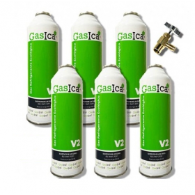 PACK 6 BOTELLAS DE GAS ECOLÓGICO GASICA V2 256GR. + VÁLVULA. SUSTITUTO R22--R407C--R32--R410A